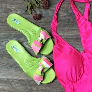 OKA BEE Green w/bow Beach Slip on Sandals